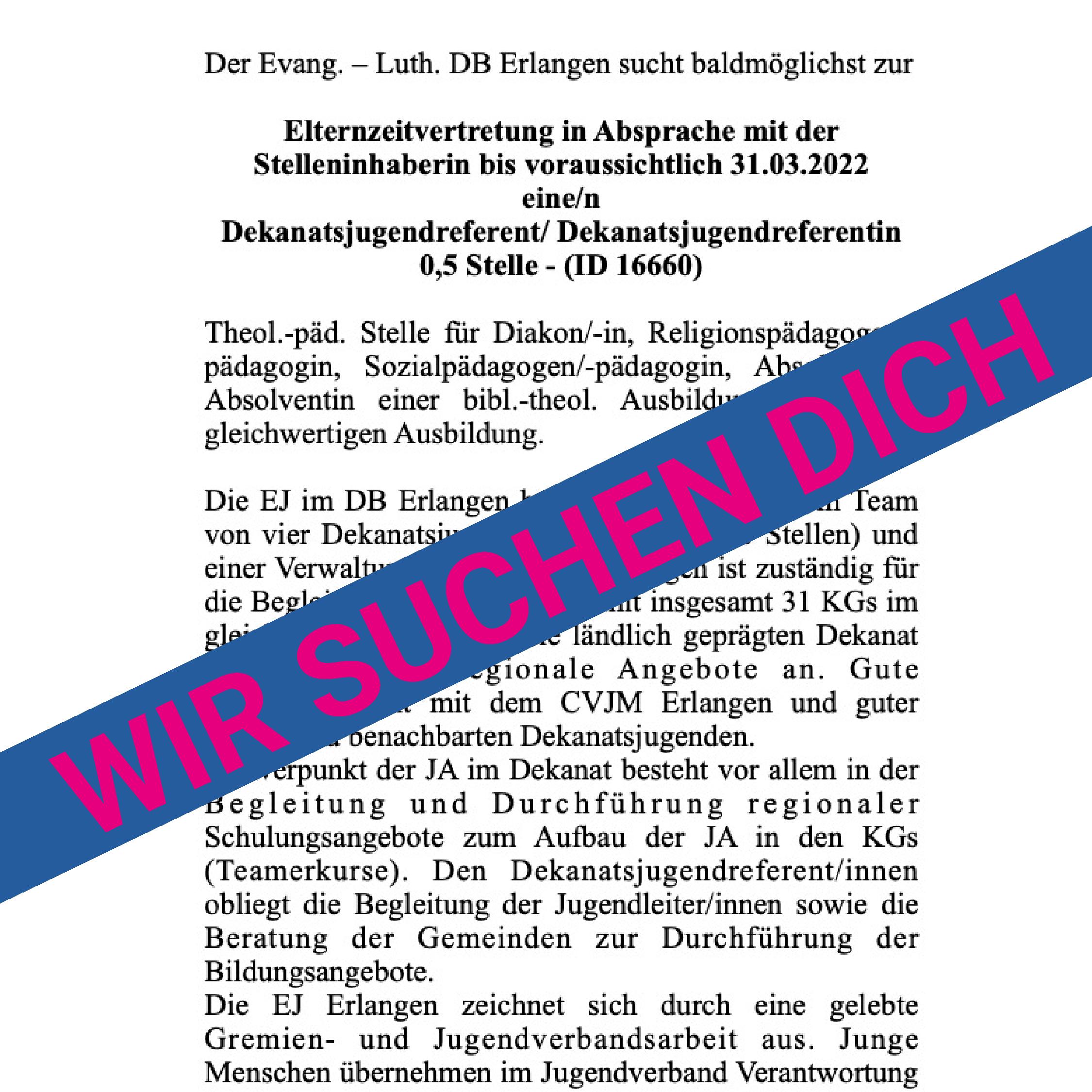 You are currently viewing Elternzeitvertretung in der EJ Erlangen